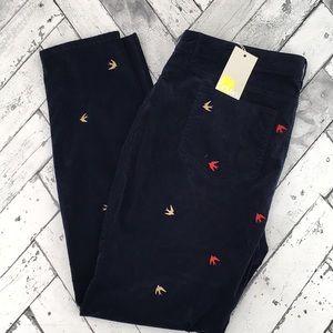Boden Pants - Boden Velvet Soho Skinny Pants Embroidered Birds